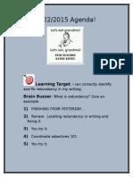 september 22 2015 agenda redundancy and coordinate adjectives  2
