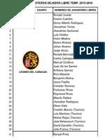 Lista de Peloteros Libres 2015-2016