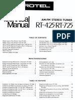 Rotel Stereo Tuner RT-425 Rt-725
