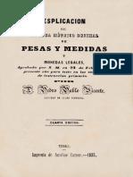 Esplicación Del Sistema Métrico Decimal de Pesas y Medidas y Monedas Legales