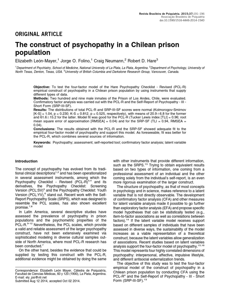 Rbps2 Psychopathy Mental And Behavioural Disorders
