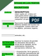 Características de Los Textos Descriptivos (Papelografo)