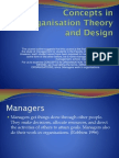 Concepts in Oganization Theory and Design