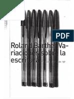 Roland Barthes - variaciones sobre la escritura