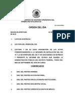 Orden del día 22 Septiembre 2015