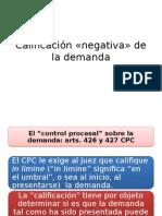 DER.PROC.CIVIL I - Calificación «negativa» de la demanda