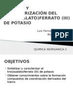 Síntesis y Caracterización Del Tris(Oxalato)Ferrato (III)