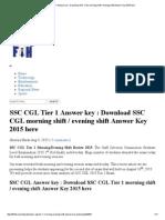 SSC CGL Tier 1 Answer Key _ Download SSC CGL Morning Shift _ Evening Shift Answer Key 2015 Here