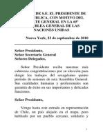 PALBRAS DE S.E. EL PRESIDENTE DE LA REPUBLICA, CON MOTIVO DEL DEBATE GENERAL EN LA 65º ASAMBLEA GENERAL DE LAS NACIONES UNIDAS