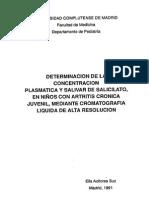 Determinacion de la concentracion plasmatica y salivar del acido acetilsalicilico