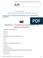 SSC CGL (Tier - 1) Previous Year Solved Paper - 2011, 2nd Shift _General Awareness_ _ SSCPORTAL