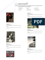Type of Photo Worksheet