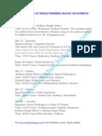 Modified Ipl Schedule 2010