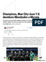 Champions, Man City-Juve 1-2_ Decidono Mandzukic