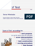 Types of Test and Testing
