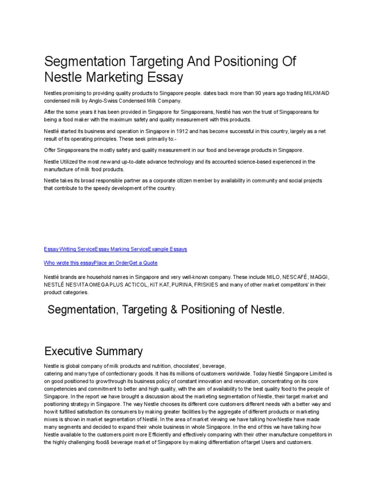 history of nestle essay Csr nestle case study essay csr nestle case study essay words: 1354 pages: 6 open document corporate social responsibility nestle case study in this work i.