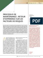 Processus de Maintenance-Retour d'Expériences Sur Les Facteurs Risques