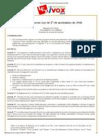 Bolivia_ Decreto Ley de 27 de Noviembre de 1943 PRIMA