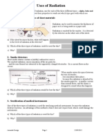 Uses of Radiation Worksheet