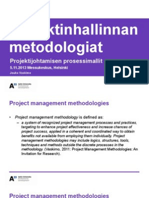 Vaskimo-Projektinhallinnan_metodologiat(1) pdf | Project