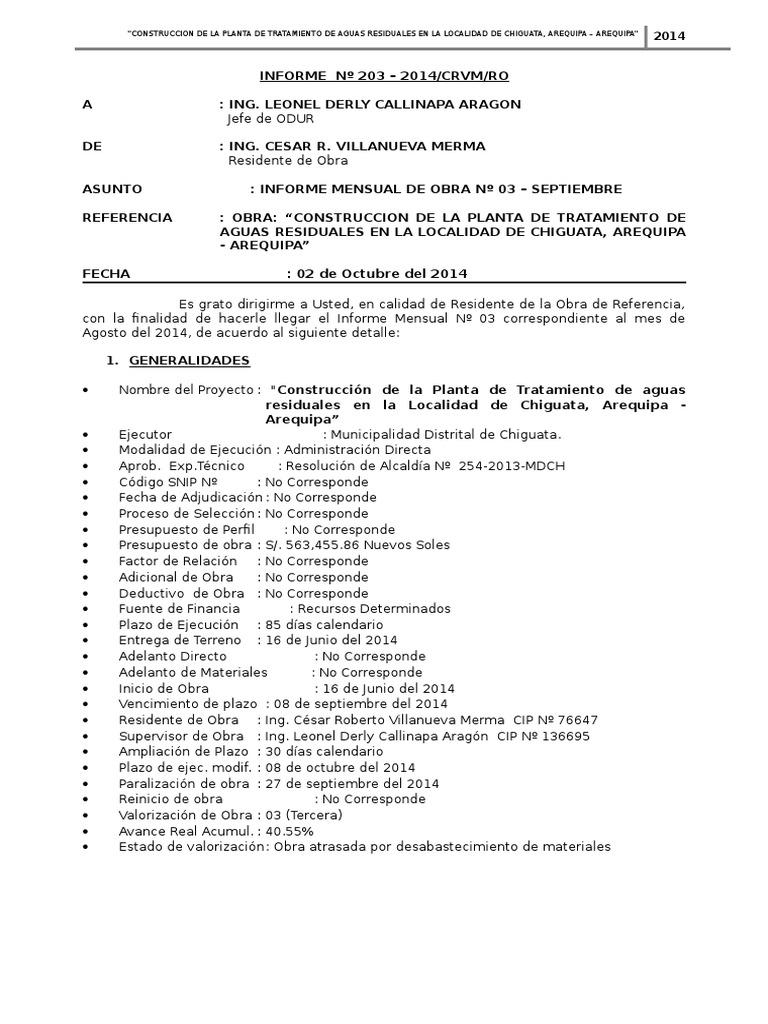 MODELO INFORME MENSUAL, VALORIZACIÓN DE OBRA