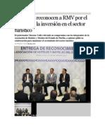 21-09-2015 Excelsior - Hoteleros Reconocen a RMV Por El Impulso a La Inversión en El Sector Turístico