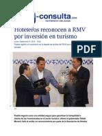 21-09-2015 E-consulta.com - Hoteleros Reconocen a RMV Por Inversión en Turismo