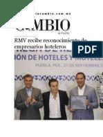 22-09-2015 Diario Matutino Cambio de Puebla - RMV Recibe Reconocimiento de Empresarios Hoteleros