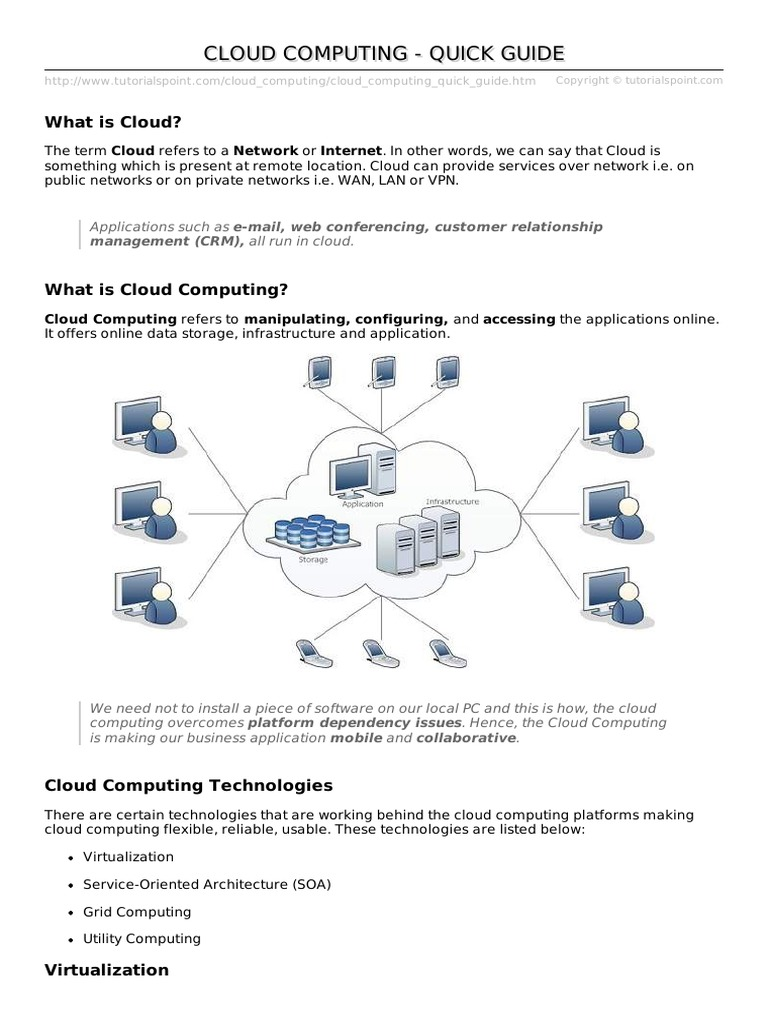 Cloud Computing Quick Guide Cloud Computing Software As A Service