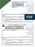 Formato Para El Control Acopio de Materiales