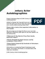 19th Century Actor Autobiographies