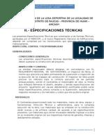 Especificaciones Técnicas Losa Deportiva Charan