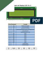 Pinagem de Display LCD 16 x 2