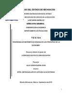 ENSEÑANZA DE MATEMÁTICAS BASADA EN LOS PRINCIPIOS DE LA ECONOMÍA
