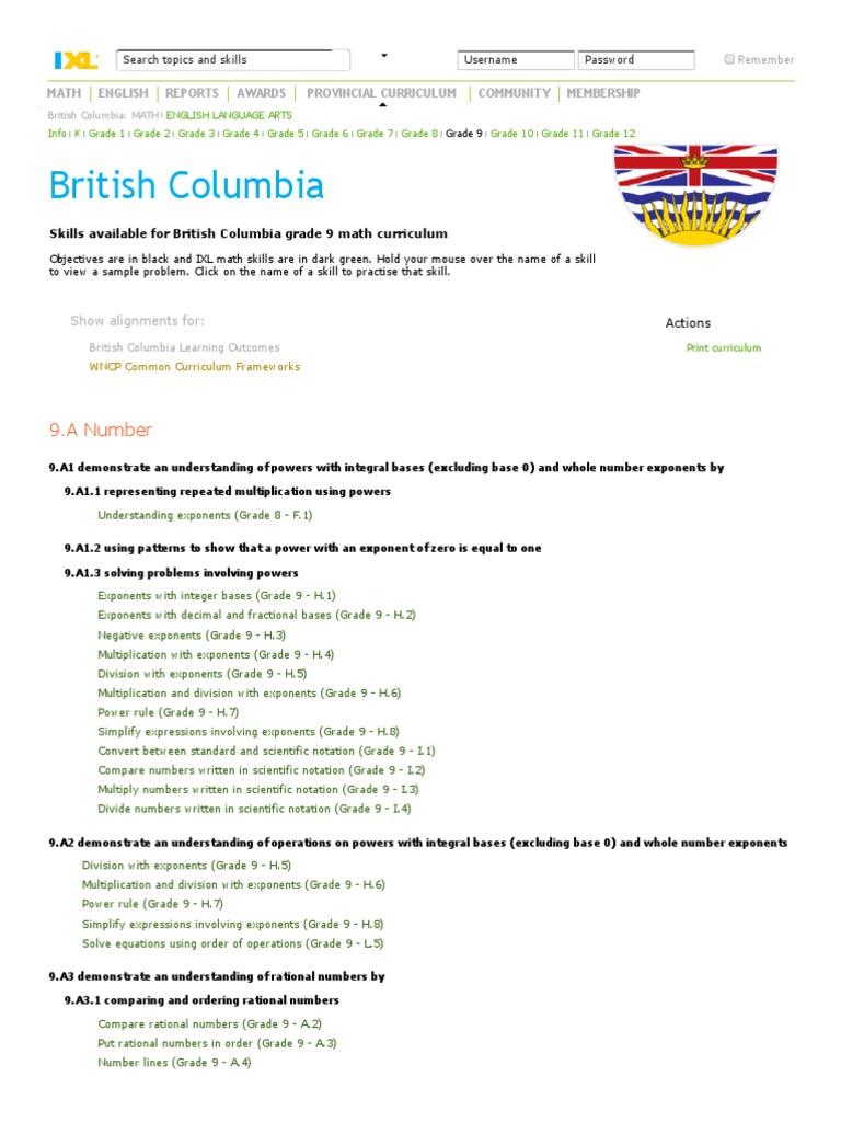 IXL British Columbia Grade 9 Math Curriculum