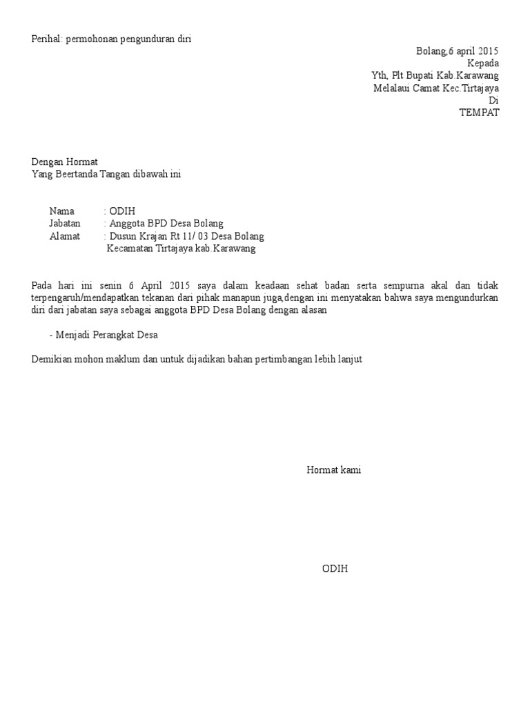 Contoh Surat Pernyataan Pengunduran Diri Dari Anggota Bpd ...