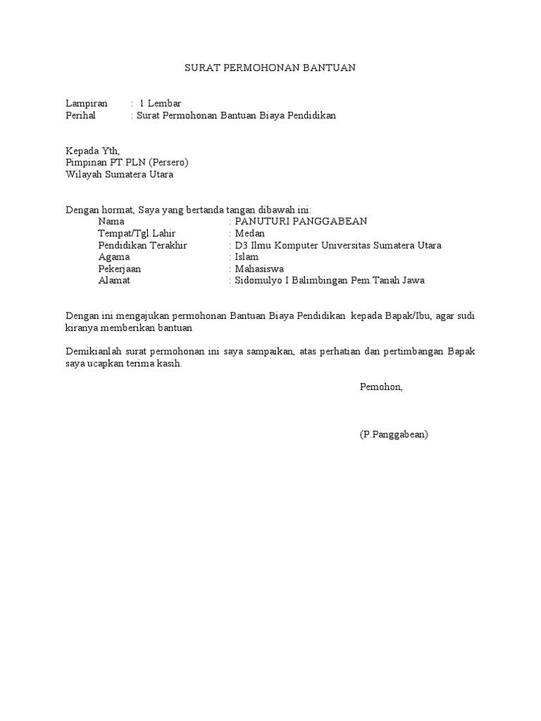 Surat Permohonan Bantuan Kewangan Pendidikan Kuching J