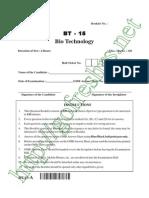 AP PGECET 2015 Bio Tech (BT) Question Paper & Answer Key