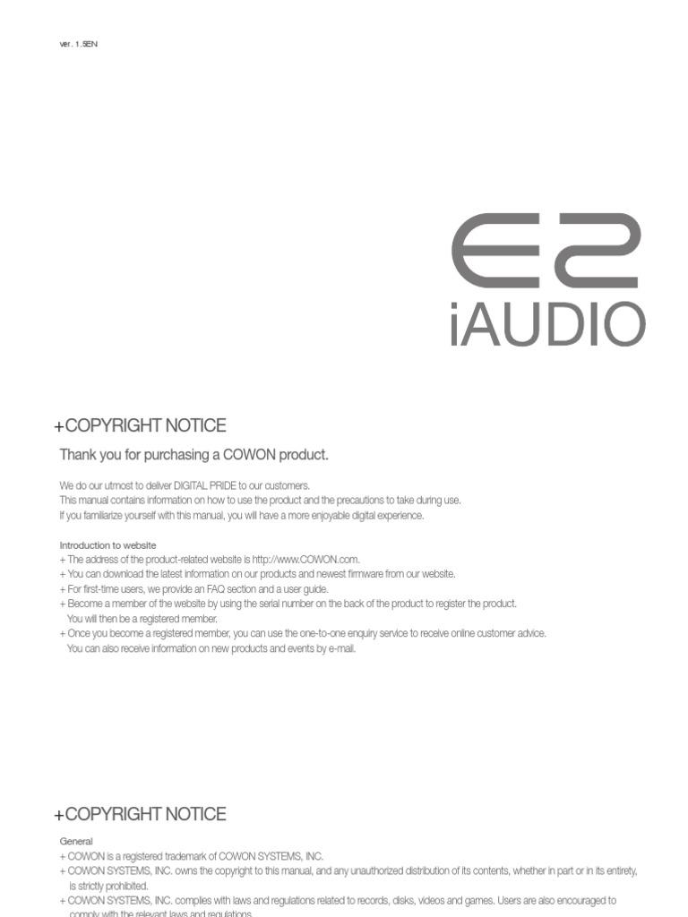 cowon e2 manual usb electromagnetic interference rh scribd com Cowon Umpc Cowon J3
