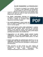 Codul Bunelor Maniere La Psiholog