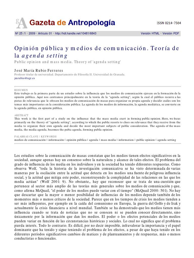 Opinion Publica - Teoria de La Agenda Setting