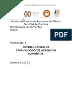 Practica 5. Determinación de Staphylococcus aureus en alimentos