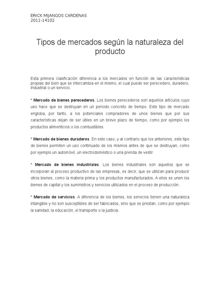 Tipos de Mercados Según La Naturaleza Del Producto