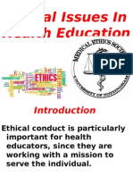 Ethical Issues in Health Education ,,