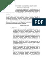 Pliego de Exigencias de La Universidad de Cartagena Modalidad Presencial