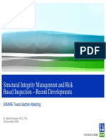 Structural Integrity Management and Risk Based Inspection – Recent Developments
