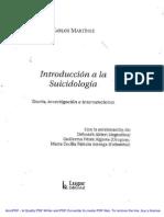 Introducción a La Suicidiologia