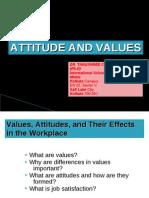 Attitude and Values BY DR. TANUSHREE CHAKRABORTY