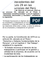 Los Antecedentes Del Artículo 29 en Las Constituciones
