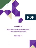 PSU Admisión 2016 - Temario Ciencias